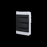 Elosztódoboz C sorozat, 3x18 (54) modul, süllyesztett, átlátszó fekete ajtó, 522 x 382 x 106mm, IP40