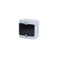 Elosztódoboz D sorozat, 1x8 modul, falon kívüli, átlátszó fekete ajtó, 200x200x120mm, IP65