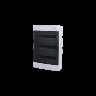 Elosztódoboz C sorozat, 3x12 (36) modul, süllyesztett, átlátszó fekete ajtó, 428x283x106mm, IP40