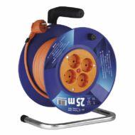 Dobos hosszabbító 25m 4 aljzattal MT 3x1,5mm2 narancssárga 3680W PVC dob IP20
