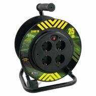 Dobos hosszabbító 25m 4 aljzattal MT 3x1,5mm2 fekete 3000W PVC dob IP20