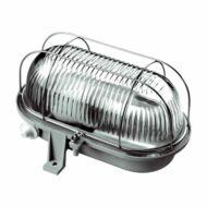 Fémrácsos ovális hajólámpa E27 max.: 100W, szürke, 230V~ 50Hz, 190x135x105mm, két ponton rögzíthető
