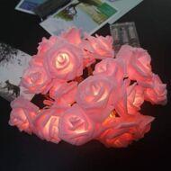 Fényfüzér girland rózsaszín 20LED rózsa 4m 3xAA IP20