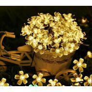 Napelemes (szolár) LED cseresznyevirág SAKURA fényfüzér 50 db meleg fehér fényű kültéri (WFD-07615F)