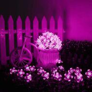 Napelemes (szolár) LED cseresznyevirág SAKURA fényfüzér 50 db rózsaszín fényű kültéri (WFD-7615)