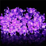 Napelemes (szolár) LED cseresznyevirág SAKURA fényfüzér 50 db lila fényű kültéri (WFD-7615F)