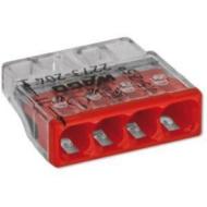 Wago összekötő kapocs 4x 0-2,5 mm2 átlátszó 24A piros (Új)