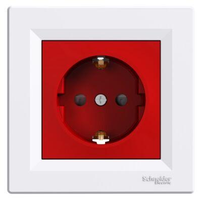 ASFORA 2P+F aljzat, gyermekvédelemmel, piros betét, csavaros bekötés, fehér