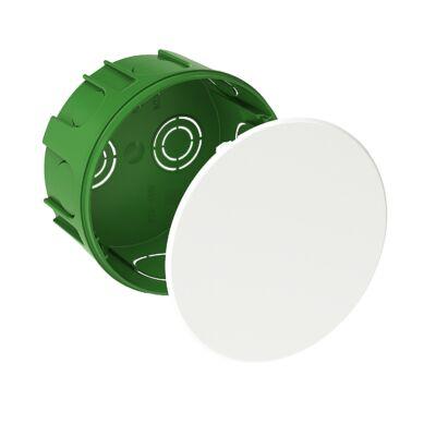 BIP kötődoboz fedéllel, téglafalhoz, kerek, 100x50 mm, IP30, zöld