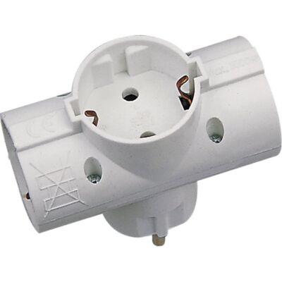 Földelt T-elosztó (műanyag) max.:1700W, fehér, 230V~ 50Hz 3x2,5A