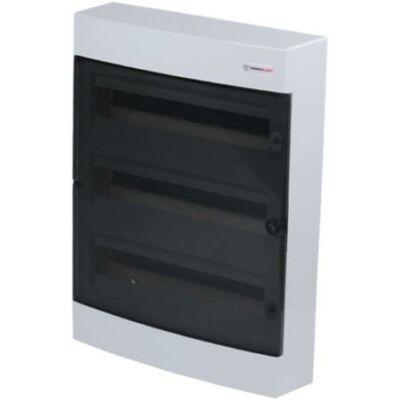 Elosztódoboz C sorozat, 3x18 (54) modul, falon kívüli, átlátszó fekete ajtó, 396x526x112mm, IP40