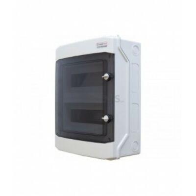 Elosztódoboz D sorozat, 2x12 (24) modul, falon kívüli, átlátszó fekete ajtó, 318x383x142m, IP65