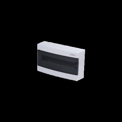 Elosztódoboz C sorozat, 1x18 modul, falon kívüli, átlátszó fekete ajtó, 396x236x112mm, IP40