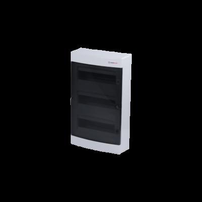 Elosztódoboz C sorozat, 3x12 (36) modul, falon kívüli, átlátszó fekete ajtó, 485 x 287 x 112mm, IP40