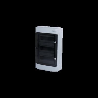 Elosztódoboz D sorozat, 3x12 (36) modul, falon kívüli, átlátszó fekete ajtó, 318x507x142mm, IP65
