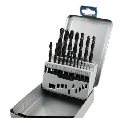Fémcsigafúró készlet, HSS, DIN 338, fémdobozban;1,0-10,0mm, 19 db-os