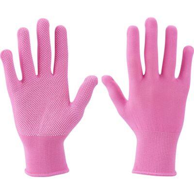Extol Lady Kötött kesztyű rózsaszín PE fehér PVC pöttyökkel Extol