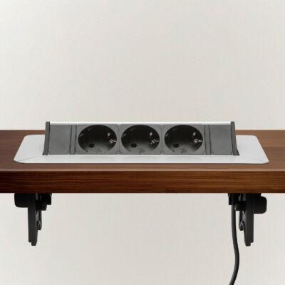 Asztalba süllyeszthető elosztó 3-as 16A, 230V, 225 x 92 mm, ezüst, vezeték:3x1,5mm2