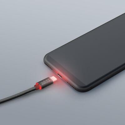 Adatkábel - iPhone - 2A - LED - fekete - 1m