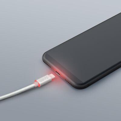 Adatkábel - iPhone - 2A - LED - ezüst - 1m