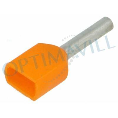 Érvéghüvely iker szigetelt 2x0,5mm2 8mm narancs (200db)