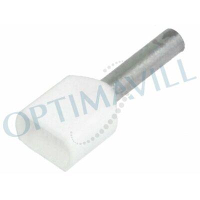 Érvéghüvely iker szigetelt 2x0,75mm2 8mm fehér (200db)