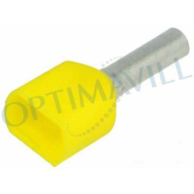 Érvéghüvely iker szigetelt 2x6mm2 14mm DIN sárga (50db)