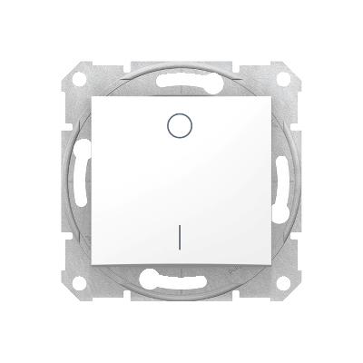 SEDNA Kétpólusú kapcsoló, rugós bekötés, 10AX, IP44, fehér (102)